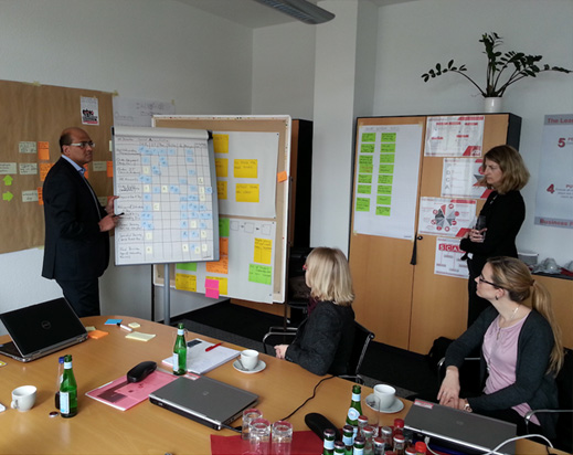 Example training in front of the whiteboard